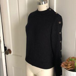 Monkl black crop mock neck button sleeve